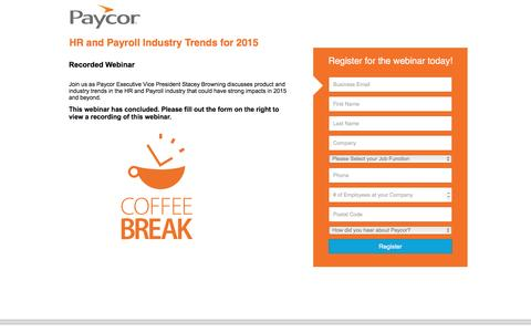 Screenshot of Landing Page paycor.com - HR and Payroll Industry Trends for 2015 - captured Aug. 19, 2016