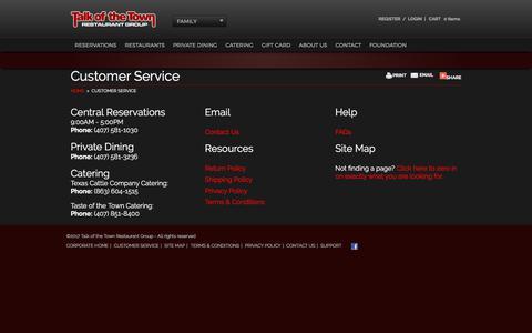 Screenshot of Support Page talkofthetownrestaurants.com - Customer Service | Talk of the Town Restaurant Group - captured Oct. 19, 2017