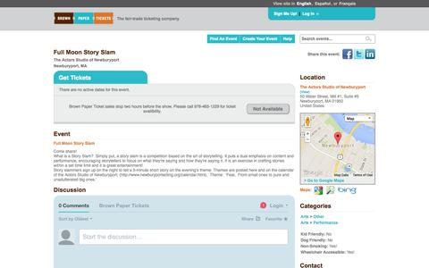 Screenshot of Landing Page brownpapertickets.com - Full Moon Story Slam - captured Oct. 27, 2014
