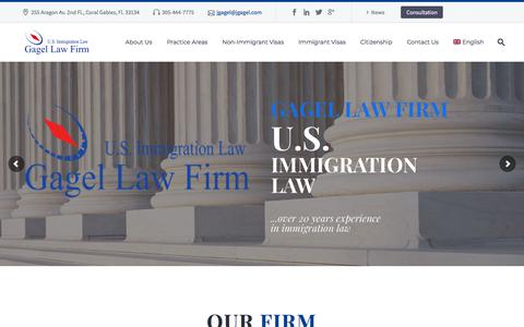 Screenshot of Home Page visas-america.com - Gagel Law Firm, Coral Gables | U.S. Immigration Law - captured June 29, 2018