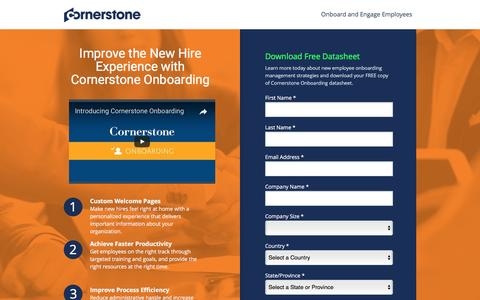 Screenshot of Landing Page cornerstoneondemand.com - Employee Onbarding Management System   Cornerstone - captured April 6, 2017