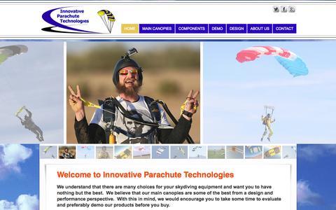 Screenshot of Home Page innovativeparachute.com - Innovative Parachute Technologies - captured Jan. 25, 2015