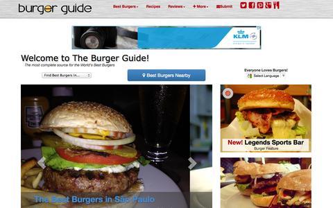 Screenshot of Home Page theburgerguide.com - The Burger Guide - World's Best Burgers - Reviews - Recipes - captured Sept. 30, 2014