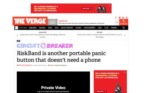 Screenshot of theverge.com - RiskBand is another portable panic button that doesn't need a phone | The Verge - captured July 27, 2016