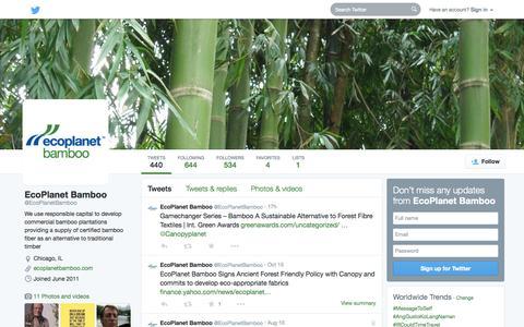 Screenshot of Twitter Page twitter.com - EcoPlanet Bamboo (@EcoPlanetBamboo) | Twitter - captured Oct. 22, 2014