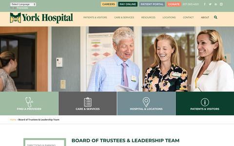 Screenshot of Team Page yorkhospital.com - Board of Trustees & Leadership Team | York Hospital - captured Nov. 7, 2018