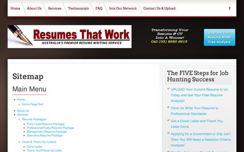 Screenshot of Site Map Page resumesthatwork.com.au - Resumes That Work - Melbourne - Australia's Premier Resume Writing Service: Resumes That Work - Melbourne - Australia's Premier Resume Writing Service - captured June 14, 2017