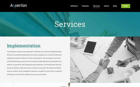 Screenshot of Services Page axxerionusa.com - Services | Axxerion USA - captured Oct. 4, 2018