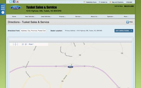Screenshot of Maps & Directions Page tusketford.ca - Directions at Tusket Sales & Service - Your Tusket, Nova Scotia Ford dealer - captured Oct. 7, 2014