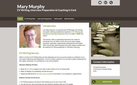 Screenshot of Home Page marymmurphy.com - Interview Preparation & Coaching in Cork | CV Writing Service in Cork - captured Sept. 20, 2018