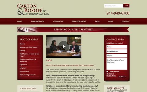 Screenshot of FAQ Page cartonrosoff.com - White Plains Divorce Advice   Frequently Asked Questions on Family Law, Carton & Rosoff PC - captured Sept. 27, 2018