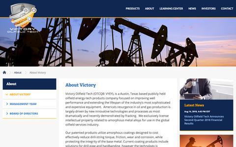 Screenshot of About Page vyey.com - About Victory :: Victory Oilfield Tech (VYEY) - captured Oct. 19, 2018