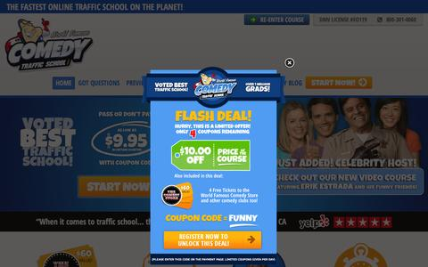 Screenshot of Home Page comedytrafficschool.com - Comedy Traffic School ® | FASTEST Traffic School Online - captured March 4, 2016
