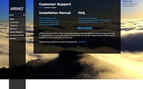 Screenshot of Support Page arinofaucet.com - Customer Support | Arino - captured Oct. 4, 2014