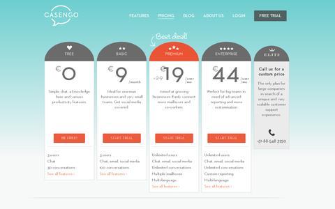 Screenshot of Pricing Page casengo.com - Pricing - Casengo - captured July 18, 2014