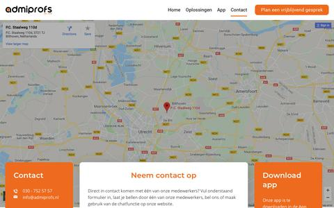 Screenshot of Contact Page admiprofs.nl - Contact - Admiprofs - captured July 29, 2018
