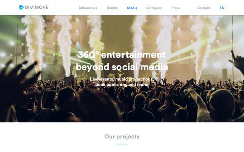 Screenshot of Press Page divimove.com - Divimove - 360° entertainment beyond social media - captured Oct. 11, 2017