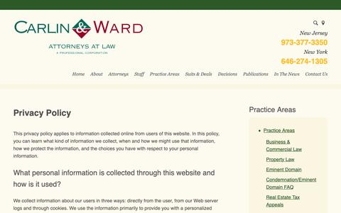 Screenshot of Privacy Page carlinward.com - Privacy Policy | Carlin & Ward, P.C. | Morristown, New Jersey - captured Sept. 27, 2018