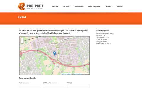 Screenshot of Contact Page pre-pare.com - Contact - - captured Nov. 9, 2016