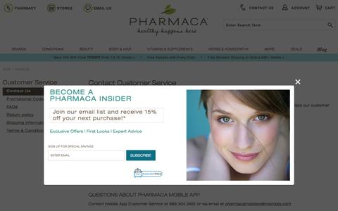 Screenshot of Contact Page pharmaca.com - Contact Us | Pharmaca - captured July 3, 2016
