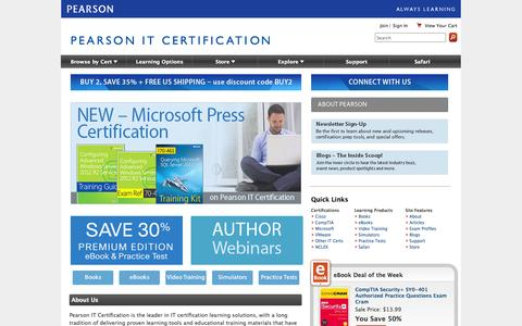 Screenshot of Home Page pearsonitcertification.com - Pearson IT Certification: Videos, flash cards, simulations, books, eBooks, and practice tests for Cisco, CompTIA, and Microsoft exams - captured Sept. 25, 2014