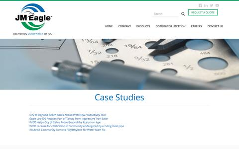 Screenshot of Case Studies Page jmeagle.com - Case Studies | JM Eagle - captured May 27, 2017