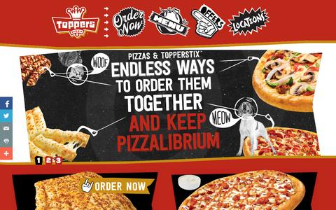 Screenshot of Home Page toppers.com - Toppers Pizza – Late Night Pizza Delivery, Topperstix, Thin Crust - captured Sept. 25, 2014