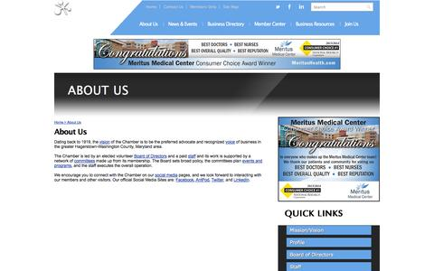 Screenshot of About Page hagerstown.org - About Us | Hagerstown-Washington County Chamber of Commerce | Hagerstown, MD - captured Oct. 2, 2014