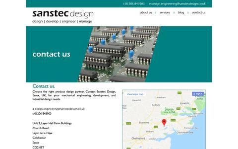 Screenshot of Contact Page sanstec.com - Contact Us - Sanstec Design - captured July 27, 2018