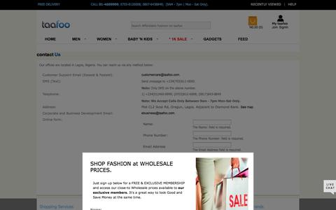 Screenshot of Contact Page taafoo.com - Contact Taafoo -taafoo.com - Online Shopping   Buy Clothes, Shoes, Watches, Accessories n More - captured Oct. 30, 2014