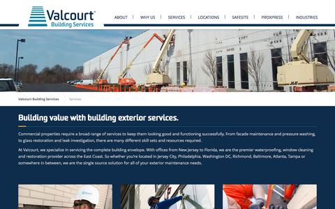 Screenshot of Services Page valcourt.net - Services | Valcourt Building Services - captured Feb. 13, 2016