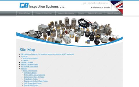 Screenshot of Site Map Page gbinspection.com - Site Map – 	 		GB Inspection Systems Ltd. - captured Nov. 9, 2018