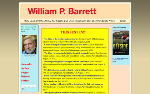 Screenshot of Home Page williampbarrett.com - Home - William P. Barrett - captured Sept. 27, 2015