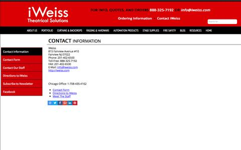 Screenshot of Contact Page iweiss.com - iWeiss Theatrical Solutions  Contact Information - captured Nov. 26, 2016