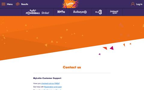 Screenshot of Contact Page mylotto.co.nz - MyLotto - captured June 27, 2017