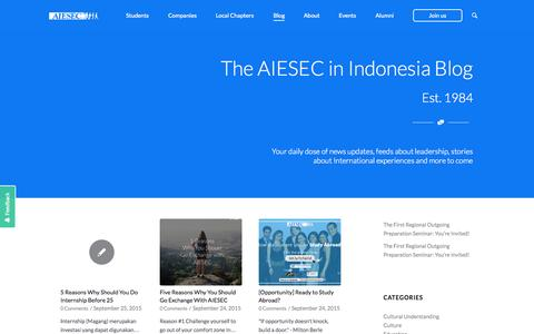Screenshot of Blog aiesec.or.id - AIESEC Blog | Student, Career Advice, Youth Topics - captured Sept. 27, 2015