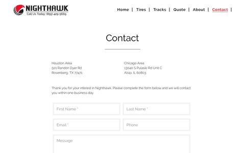 Screenshot of Contact Page nighthawktires.com - Contact - Nighthawk Tires - captured Dec. 21, 2016