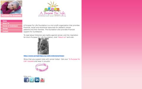Screenshot of Home Page apurposeforlife.org - A Purpose For Life - captured Sept. 29, 2014
