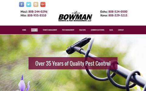 Screenshot of About Page bowmantermite.com - About Bowman Termite & Pest Management | Hawaii Pest Control Company - captured Oct. 11, 2017