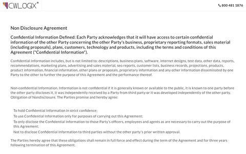 CreativeWebLogix's Non Disclosure Agreement
