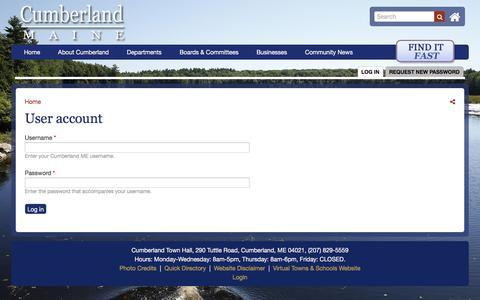 Screenshot of Login Page cumberlandmaine.com - User account | Cumberland ME - captured Feb. 28, 2018
