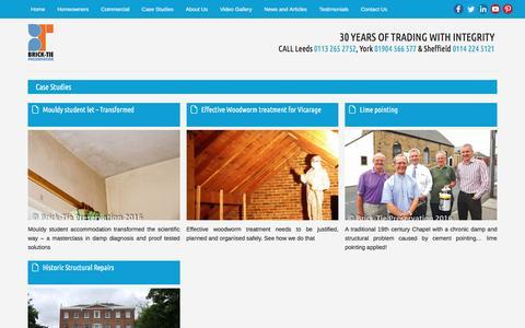 Screenshot of Case Studies Page btpreservation.co.uk - Case Studies - Brick-Tie Preservation - captured Nov. 23, 2016