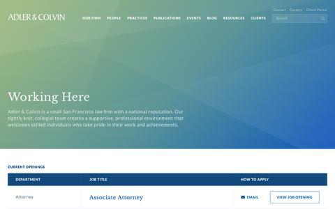 Screenshot of Jobs Page adlercolvin.com - Careers – Adler & Colvin - captured July 29, 2018