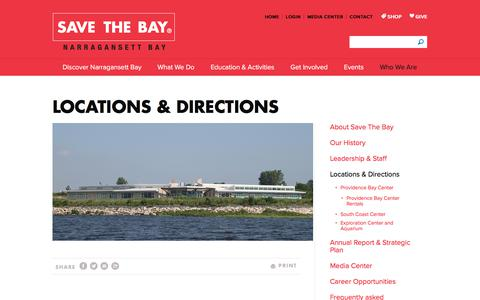 Screenshot of Locations Page Maps & Directions Page savebay.org - Locations - Save The Bay - captured Oct. 6, 2017