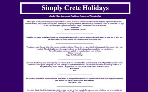 Screenshot of Testimonials Page simplycreteholidays.co.uk - simply crete holidays reviews - captured Oct. 9, 2014