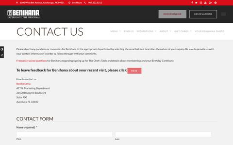 Screenshot of Contact Page benihana.com - Contact Us - Contact Form - Benihana Values Your Feedback | Benihana - captured Aug. 1, 2018