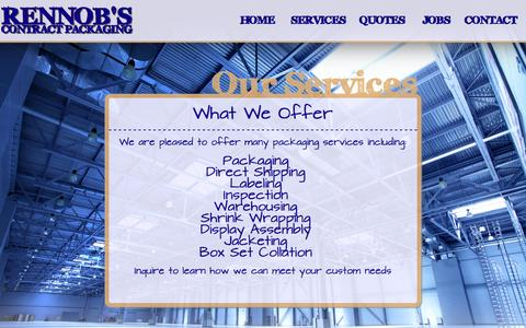 Screenshot of Services Page rennobs.com - Our Services | Rennob's Contract Packaging - captured Oct. 7, 2014