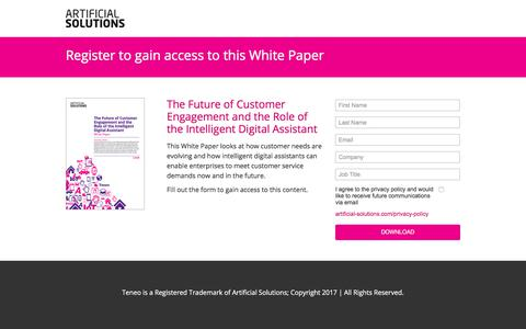 Screenshot of Landing Page artificial-solutions.com - The Future of Customer Engagement and the Role of the Intelligent Virtual Agent - captured April 21, 2018