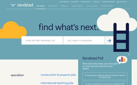 Screenshot of Home Page randstad.co.uk - Randstad Recruitment Agency | Jobs & Career Advice - captured March 10, 2019