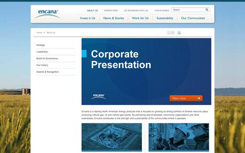 Screenshot of About Page encana.com - About us | Encana Corporation - captured March 3, 2018